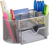 relaxdays pennenbak metaal - bureau organizer - gaas - opbergsysteem - schuiflade - Mesh zilver