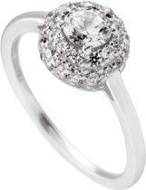 Diamonfire - Zilveren ring met steen Maat 17 - Pave - Zirkonia - Entourage - Rond