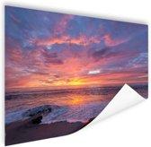 Avondlicht boven de zee Poster 120x80 cm - Foto print op Poster (wanddecoratie)