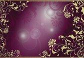 Fotobehang Floral Pattern Gold Purple   XXL - 312cm x 219cm   130g/m2 Vlies