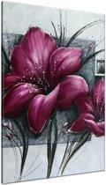 Schilderij handgeschilderd Bloemen | Paars , Grijs | 70x120cm 1Luik