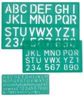 Linex lettersjabloon set met 3 stuks in een ophangetui