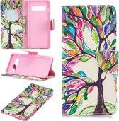 Hoesje voor Samsung Galaxy S10, 3-in-1 bookcase met print, gekleurde boom