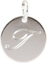 Lovenotes - Zilveren Hanger incl. collier Rond plaatje gravure letter I (14mm)