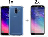 Samsung Galaxy A6 (2018) Hoesje Transparant - Shock Proof Case - 2 x Tempered Glass Screenprotector