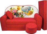 Kinder slaapbank set - logeermatras - sofa - 170 x 100 x 8 - slaapbank - rood - Madagaskar