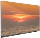 Zonsondergang in de zee Glas 120x80 cm - Foto print op Glas (Plexiglas wanddecoratie)