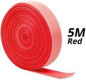 2x 5m Klittenband rol voor kabel organisatie   cable management   Rood