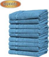 Queens Badhanddoek - 9-pack Handdoeken - 600 gr/m2 - 50x100 cm - Turquoise - Handdoek