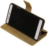 Goud Huawei P9 TPU wallet case booktype hoesje HM Book