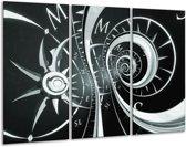 Schilderij | Canvas Schilderij Abstract | Zwart, Grijs, Groen | 120x80cm 3Luik | Foto print op Canvas