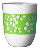 Q-Do Beker Porselein - Dubbelwandig - Siliconen - Bloemmotief - Groen - Set van 2 stuks