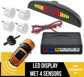 Parkeersensoren Set Met Geluid EN Display   Parkeerhulp   Uiteruitrij Sensoren   4 Sensoren   Geluids & Visuele Waarschuwing   Plug & Play   Inclusief Boor   WIT