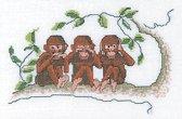 Thea Gouverneur Borduurpakket 1031A Horen zien zwijgen aapjes - Aida stof 100% katoen