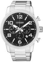 Citizen Quarz Chrono - Horloge - Staal - Mannen - 42 mm - Zilverkleurig / Zwart