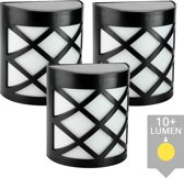 3x wandlamp China zwart - warm wit buitenlamp op zonne energie