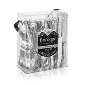 """Deluxedisposables -Luxe wegwerp bestek """"Combo Box"""" 80stuks - metallic zilver -Barok effect."""