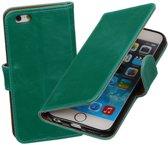 MiniPrijzen - Groen vintage lederlook bookcase voor de iPhone 6 wallet hoesje flip cover iPhone 6 telefoonhoesje - smartphone hoesje - beschermhoes