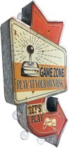 Signs-USA - Light up! Dubbelzijdig Game Zone vintage marquee uithangbord met bulb lampen - 35 x 8 x 66 cm