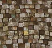 Dutch Wallcoverings Vliesbehang houtblokken - bruin/groen