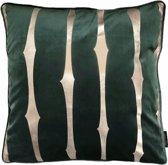 Velvet Adila Groen Kussenhoes | Fluweel - Polyester | 45 x 45 cm | Goud