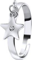 Lucardi - PINK - Zilverkleurige byoux ring met sterretje