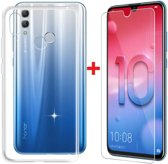 Huawei P Smart (2019) Hoesje Transparant TPU Siliconen Soft Case + Tempered Glass Screenprotector
