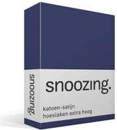 Snoozing - Katoen-satijn - Hoeslaken - Extra Hoog - Tweepersoons - 150x200 cm - Navy