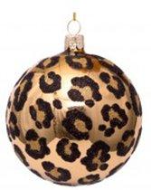 3 gouden kerstballen- 3stuks - 8cm- luipaard- print- glas