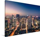 Bruisend Shenyang in de avond Canvas 90x60 cm - Foto print op Canvas schilderij (Wanddecoratie woonkamer / slaapkamer) / Aziatische steden Canvas Schilderijen