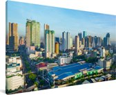 Skyline van Manila in de Filipijnen Canvas 80x40 cm - Foto print op Canvas schilderij (Wanddecoratie woonkamer / slaapkamer) / Aziatische steden Canvas Schilderijen