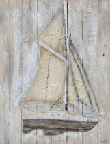 Olieverfschilderij op hout - Zeilboot 01