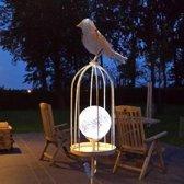 Vogelkooi met solar lichtbol - set van 2 stuks
