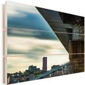 Uitzicht op de gebouwen in Nijmegen Vurenhout met planken 60x40 cm - Foto print op Hout (Wanddecoratie)