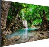 FotoCadeau.nl - Erawan Waterval in jungle Thailand foto Aluminium 60x40 cm - Foto print op Aluminium (metaal wanddecoratie)