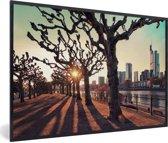 Foto in lijst - Zonsondergang tussen de bomen in Frankfurt am Main fotolijst zwart 60x40 cm - Poster in lijst (Wanddecoratie woonkamer / slaapkamer)