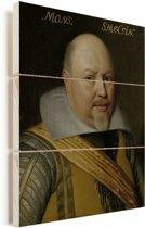 Portret van Nicolaas Schmelzing - Schilderij van Michiel Jansz van Mierevelt Vurenhout met planken 120x160 cm - Foto print op Hout (Wanddecoratie) XXL / Groot formaat!