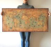 Retro Wereldkaart | Vintage | Wereldkaart Poster | Schilderijen & Posters | Wanddecoratie | 50CM x 100CM