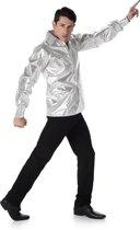 Zilverkleurig disco shirt voor volwassenen - Volwassenen kostuums