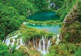 Fotobehang Forest Waterfalls Lakes   M - 104cm x 70.5cm   130g/m2 Vlies