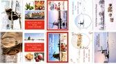 50 Luxe Kerst- en Nieuwjaarskaarten - 9,5x14cm  - 10 x 5 dubbele kaarten met enveloppen - serie Hollands