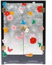 Chinese Meubelen Chinese Kast Nachtkastje Handgeschilderde Vlinders Zwart-Zilver Middel Yangzhou Lacquer Lakkastje - Orientique