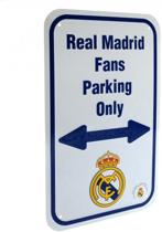 Real Madrid - Plaat - Fans Parking Only - Wit/Blauw - 17 x 27 cm