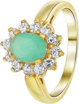 Lucardi - Nouveau Vintage - Goldplated ring milky blue met zirkonia