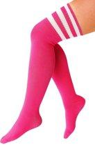 Lange sokken neon roze met witte strepen - 36-41 - fluor UV kniekousen overknee kousen sportsokken cheerleader voetbal hockey festival