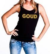 Goud glitter tekst tanktop / mouwloos shirt zwart dames - dames singlet Goud S