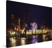 Kleurrijke verlichting in het Nederlandse Maastricht Canvas 140x90 cm - Foto print op Canvas schilderij (Wanddecoratie woonkamer / slaapkamer) / Europese steden Canvas Schilderijen