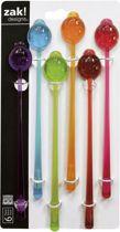 Zak!Designs Party - Roerstaafjes - Ladybird - 18,5 cm - Set van 6 Stuks - Assorti