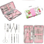 Manicureset & Pedicureset - Luxe 12-delige Set Voor (French) Manicure & Pedicure - Met Etui - Reisset Nagel Verzorging Set Voor Manicure Set & Pedicure Set