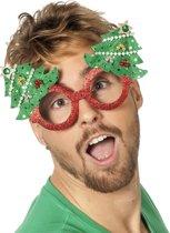 Bril kerst glitter rood met kerstboom